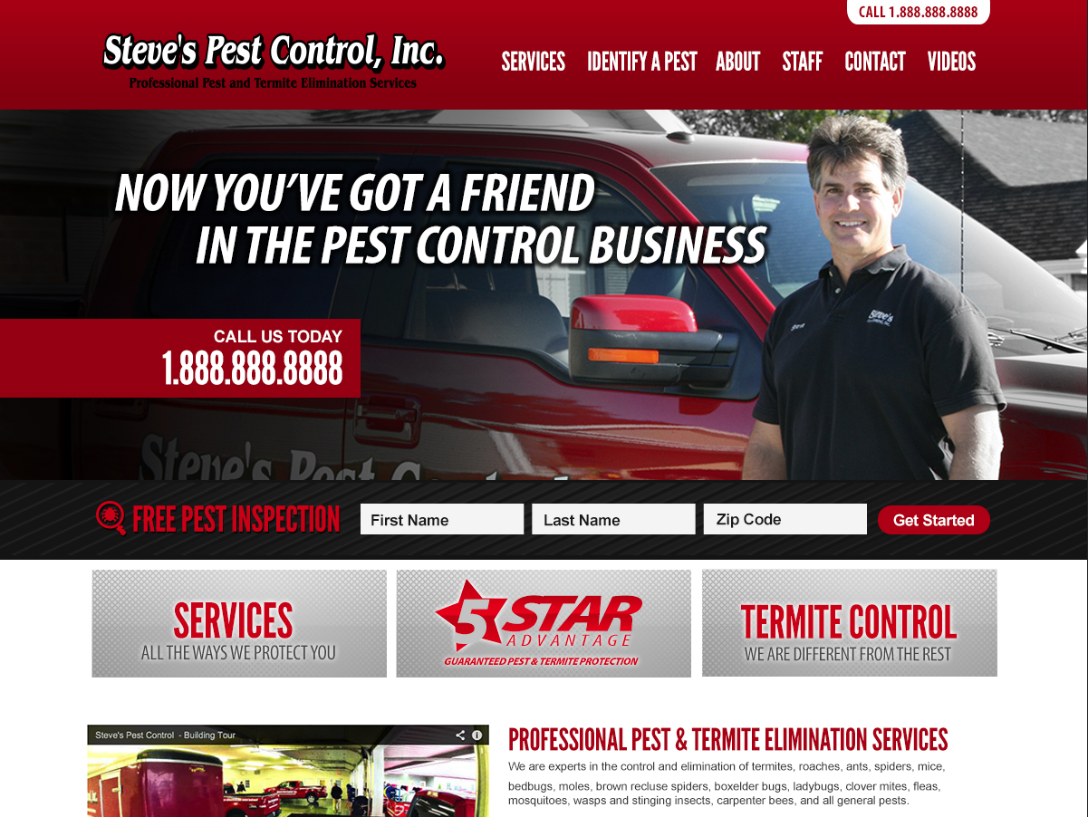 The website concept for Steve's Pest Control in Holts Summit, Missouri.