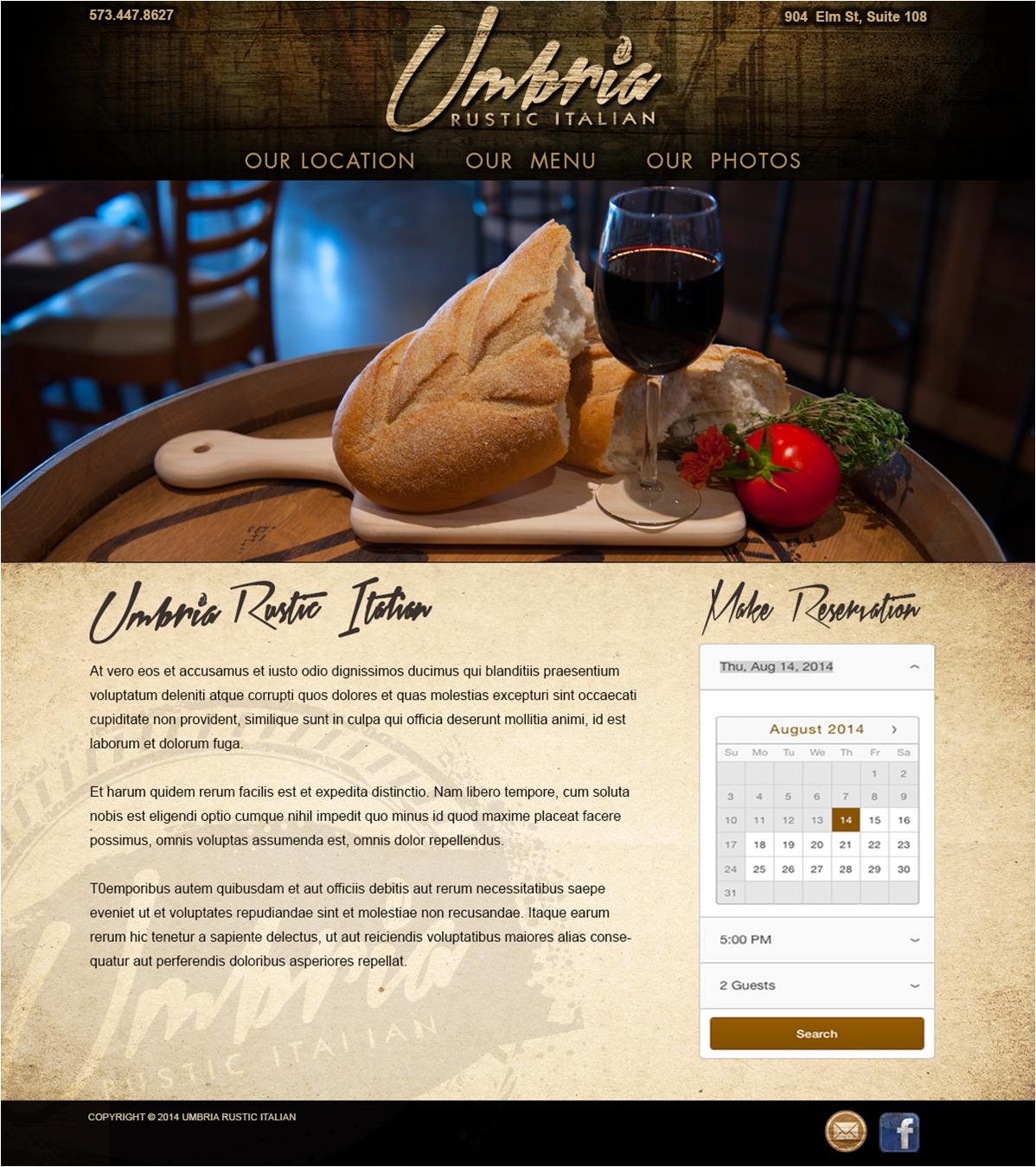 Homepage concept for Umbria Rustic Italian restaurant in Columbia, Missouri.