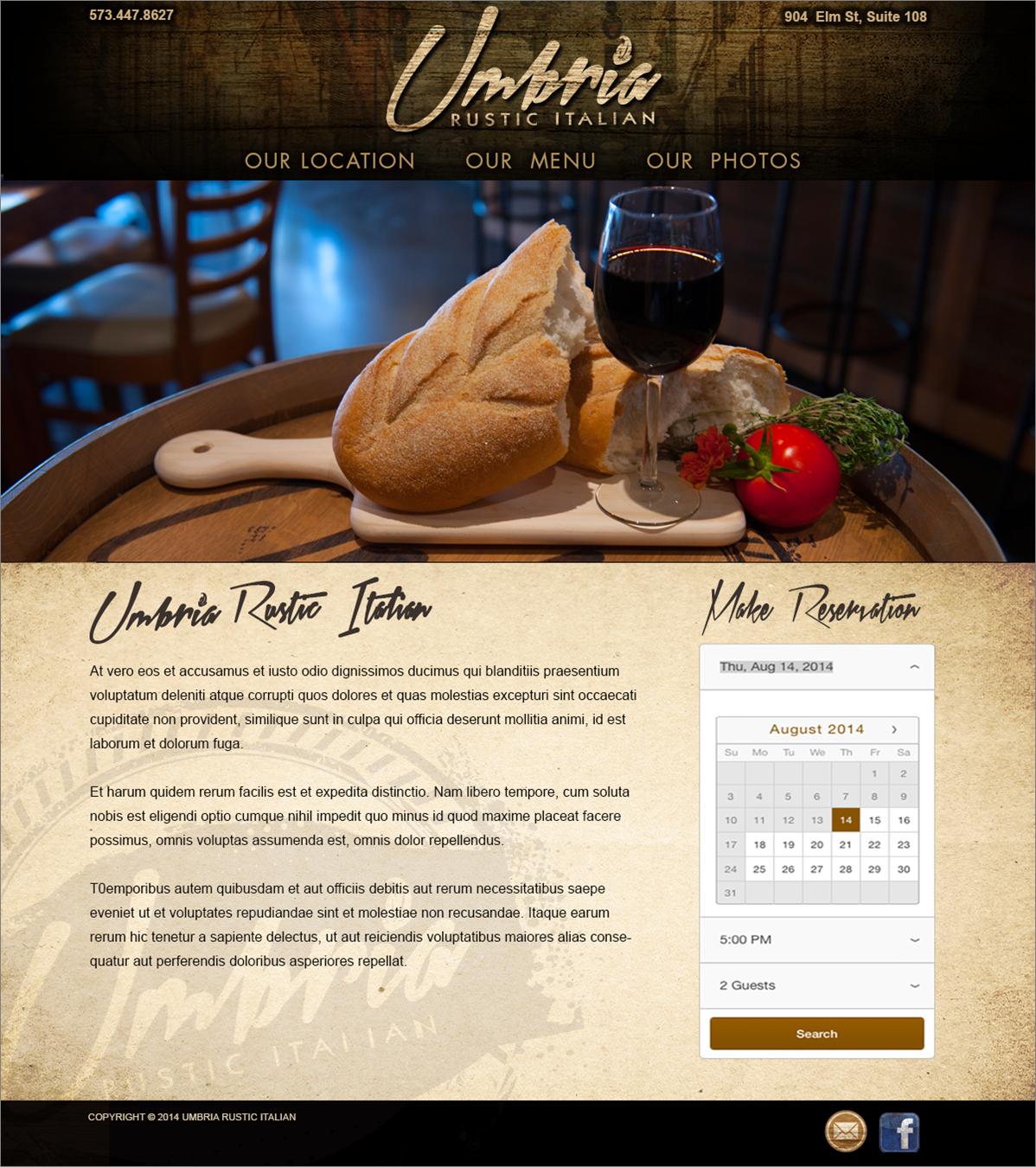 Homepage concept for Umbria Rustic Italian restaurant in Columbia, Missouri.