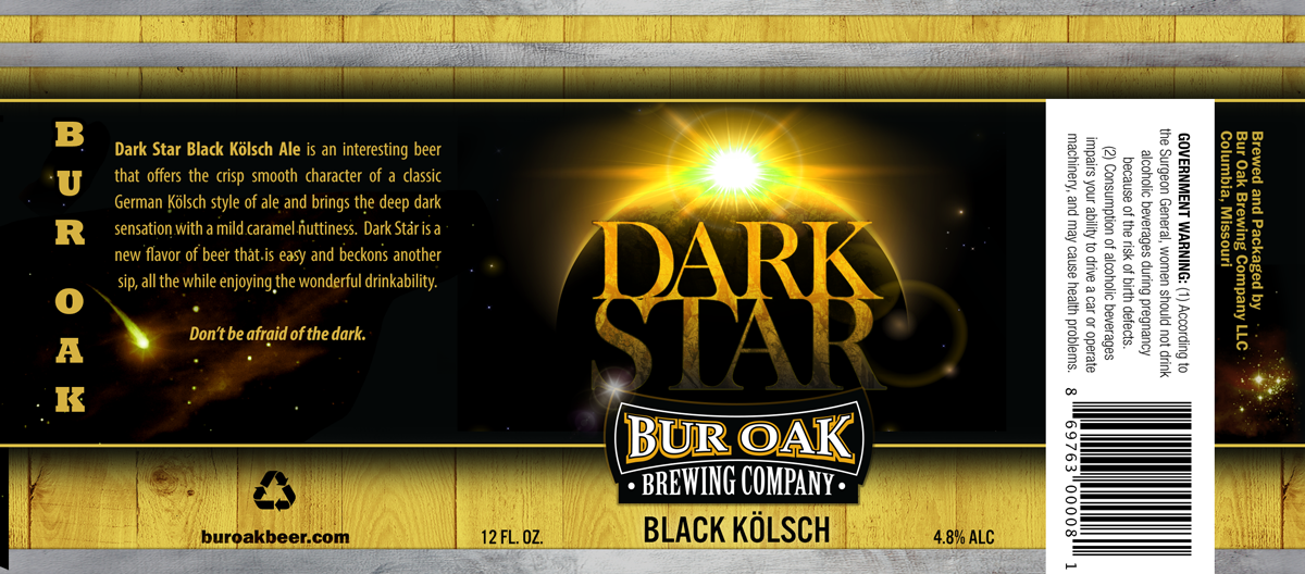 "Bur Oak Brewing Company ""Dark Star"" Label designed by Zimmer Radio & Marketing Group"